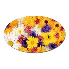 Colorful Flowers Pattern Oval Magnet