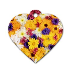 Colorful Flowers Pattern Dog Tag Heart (Two Sides)