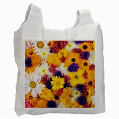 Colorful Flowers Pattern Recycle Bag (One Side)