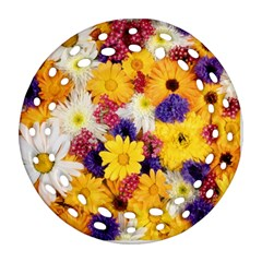 Colorful Flowers Pattern Ornament (Round Filigree)