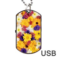 Colorful Flowers Pattern Dog Tag USB Flash (Two Sides)