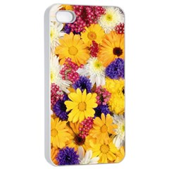 Colorful Flowers Pattern Apple iPhone 4/4s Seamless Case (White)