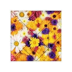 Colorful Flowers Pattern Acrylic Tangram Puzzle (4  x 4 )