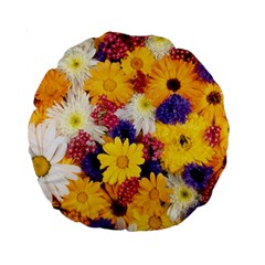 Colorful Flowers Pattern Standard 15  Premium Round Cushions