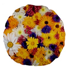 Colorful Flowers Pattern Large 18  Premium Flano Round Cushions