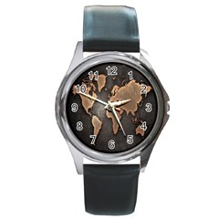 Grunge Map Of Earth Round Metal Watch