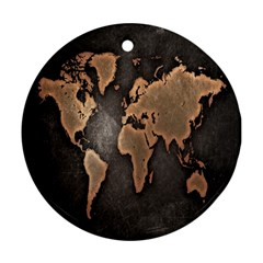 Grunge Map Of Earth Ornament (Round)