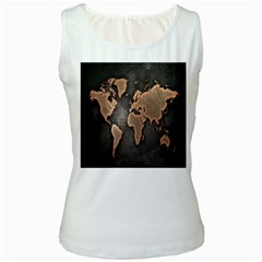 Grunge Map Of Earth Women s White Tank Top