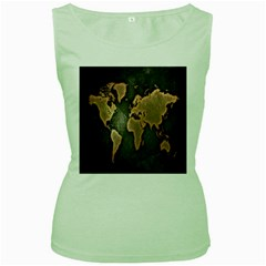 Grunge Map Of Earth Women s Green Tank Top