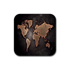 Grunge Map Of Earth Rubber Coaster (Square)