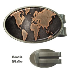 Grunge Map Of Earth Money Clips (Oval)