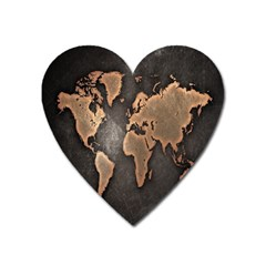 Grunge Map Of Earth Heart Magnet