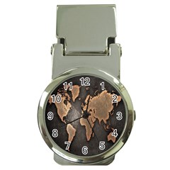 Grunge Map Of Earth Money Clip Watches