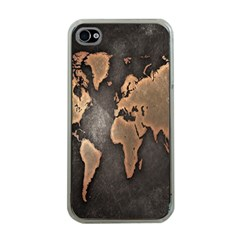 Grunge Map Of Earth Apple iPhone 4 Case (Clear)