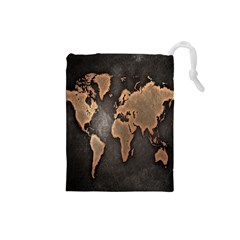 Grunge Map Of Earth Drawstring Pouches (Small)