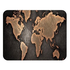 Grunge Map Of Earth Double Sided Flano Blanket (Large)