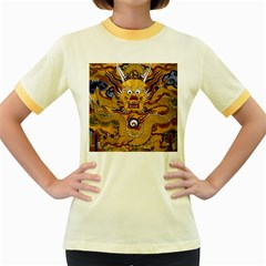 Chinese Dragon Pattern Women s Fitted Ringer T-Shirts