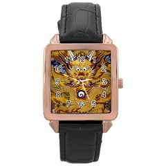 Chinese Dragon Pattern Rose Gold Leather Watch