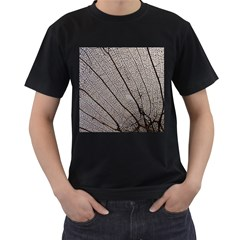 Sea Fan Coral Intricate Patterns Men s T-Shirt (Black) (Two Sided)