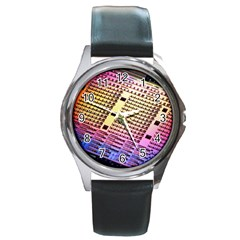Optics Electronics Machine Technology Circuit Electronic Computer Technics Detail Psychedelic Abstract Round Metal Watch