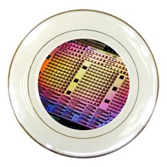 Optics Electronics Machine Technology Circuit Electronic Computer Technics Detail Psychedelic Abstract Porcelain Plates