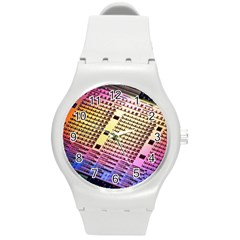 Optics Electronics Machine Technology Circuit Electronic Computer Technics Detail Psychedelic Abstract Round Plastic Sport Watch (M)