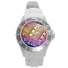 Optics Electronics Machine Technology Circuit Electronic Computer Technics Detail Psychedelic Abstract Round Plastic Sport Watch (L)