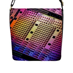 Optics Electronics Machine Technology Circuit Electronic Computer Technics Detail Psychedelic Abstract Flap Messenger Bag (L)