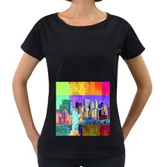 New York City The Statue Of Liberty Women s Loose-Fit T-Shirt (Black)