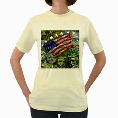 Usa United States Of America Images Independence Day Women s Yellow T-Shirt