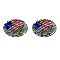 Usa United States Of America Images Independence Day Cufflinks (Oval)