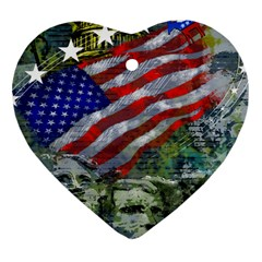 Usa United States Of America Images Independence Day Heart Ornament (Two Sides)
