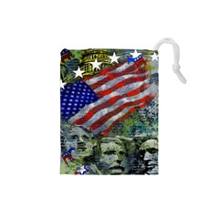 Usa United States Of America Images Independence Day Drawstring Pouches (Small)