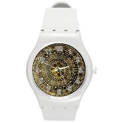Gold Roman Shield Costume Round Plastic Sport Watch (M)