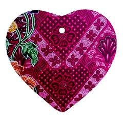 Pink Batik Cloth Fabric Ornament (Heart)