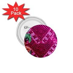 Pink Batik Cloth Fabric 1.75  Buttons (10 pack)