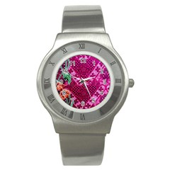 Pink Batik Cloth Fabric Stainless Steel Watch