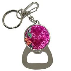 Pink Batik Cloth Fabric Button Necklaces