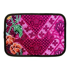 Pink Batik Cloth Fabric Netbook Case (Medium)