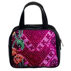 Pink Batik Cloth Fabric Classic Handbags (2 Sides)