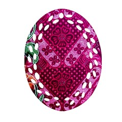 Pink Batik Cloth Fabric Ornament (Oval Filigree)