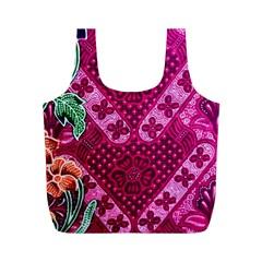 Pink Batik Cloth Fabric Full Print Recycle Bags (M)