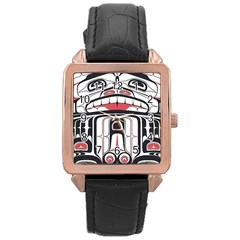 Ethnic Traditional Art Rose Gold Leather Watch