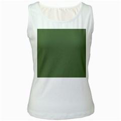 Trendy Basics   Trend Color Kale Women s White Tank Top