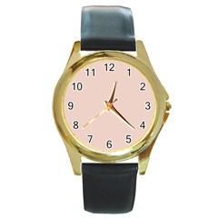 Trendy Basics   Trend Color Pale Dogwood Round Gold Metal Watch
