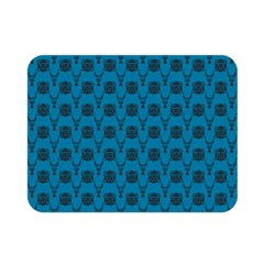 Lion Vs Gazelle Damask In Teal Double Sided Flano Blanket (mini)