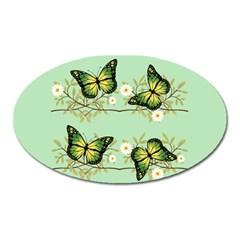 Four Green Butterflies Oval Magnet