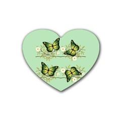 Four Green Butterflies Heart Coaster (4 Pack)