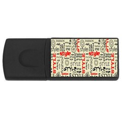 Backdrop Style With Texture And Typography Fashion Style USB Flash Drive Rectangular (4 GB)