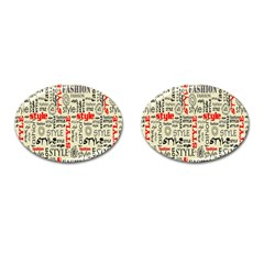 Backdrop Style With Texture And Typography Fashion Style Cufflinks (Oval)